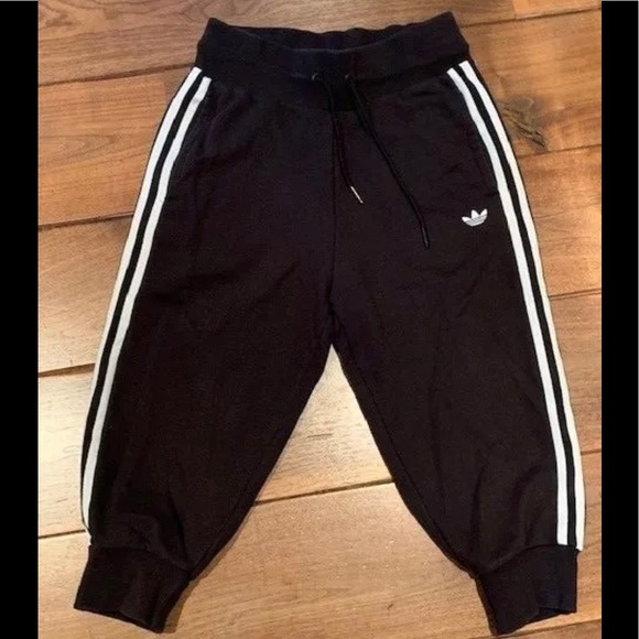 professional design fashionable and attractive package factory ADIDAS Black cropped jogger sweatpants